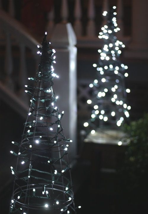 Tackle a fun and easy Christmas project this weekend. Repurpose tomato cages by wrapping them with a string of LED lights.