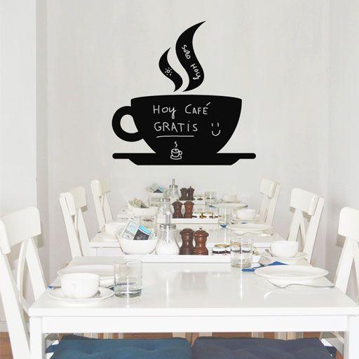 Pizarra adhesiva de vinilo con forma de taza de café, muy original y práctica para pintar con tiza una y otra vez.