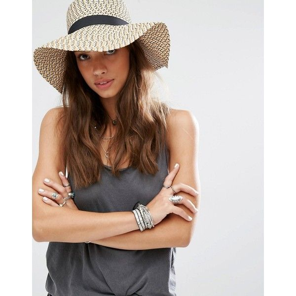 Pimkie Floppy Summer Hat (€19) ❤ liked on Polyvore featuring accessories, hats, beige, flop hat, beige hat, summer hats, floppy hat and ribbon hat