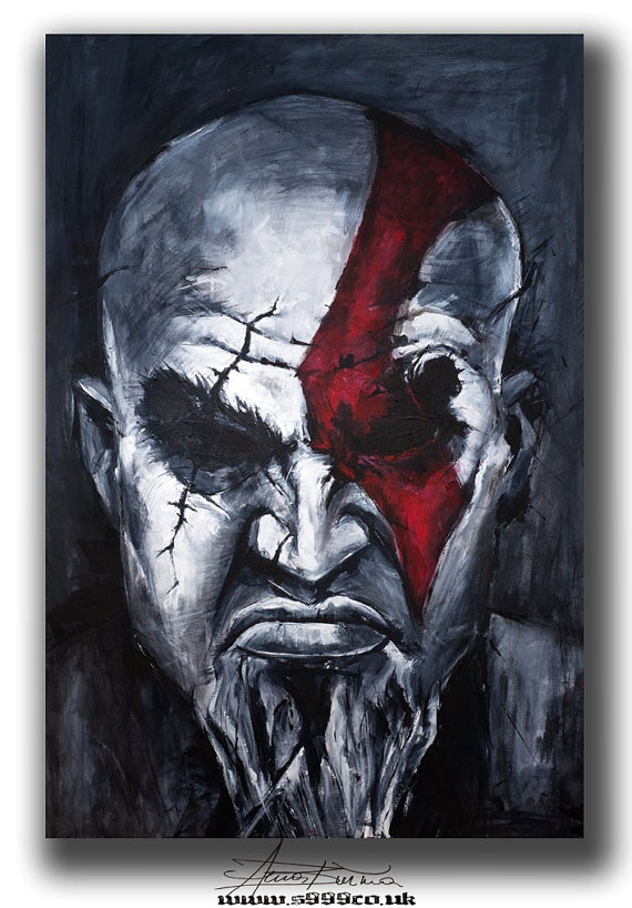 """ORIGINAL PORTRAIT PAINTING on canvas Art Acrylic contemporary Famous person Modern Textured Art on canvas, home decor.  Title: """"Kratos god of war"""" from Famous Characters"""