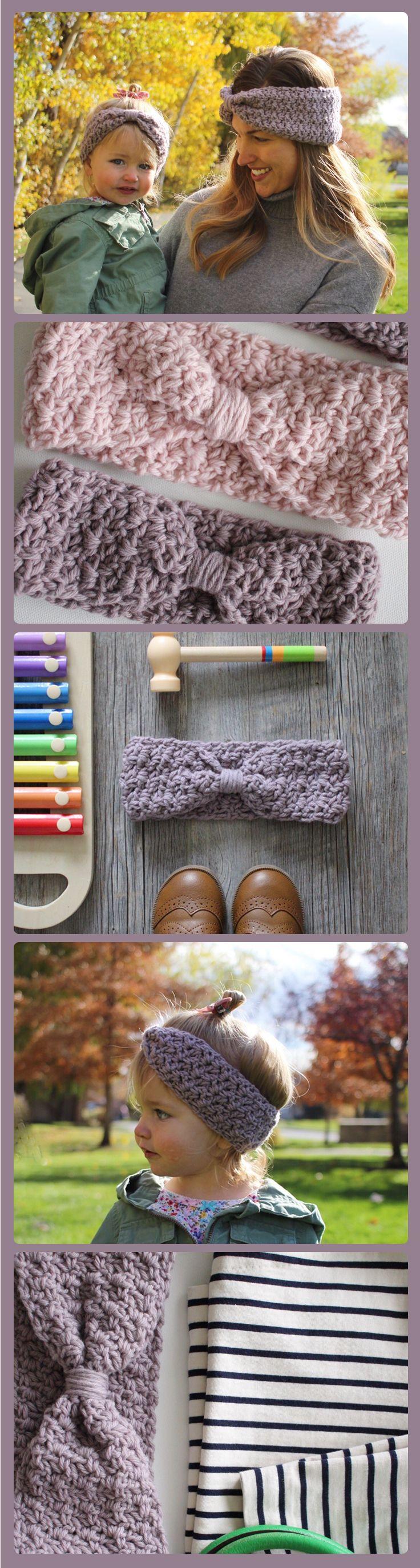 Ava Ear Warmer crochet pattern - knotted ear warmer - easy ear warmer crochet pattern - headband - head wrap crochet pattern by Little Monkeys Design