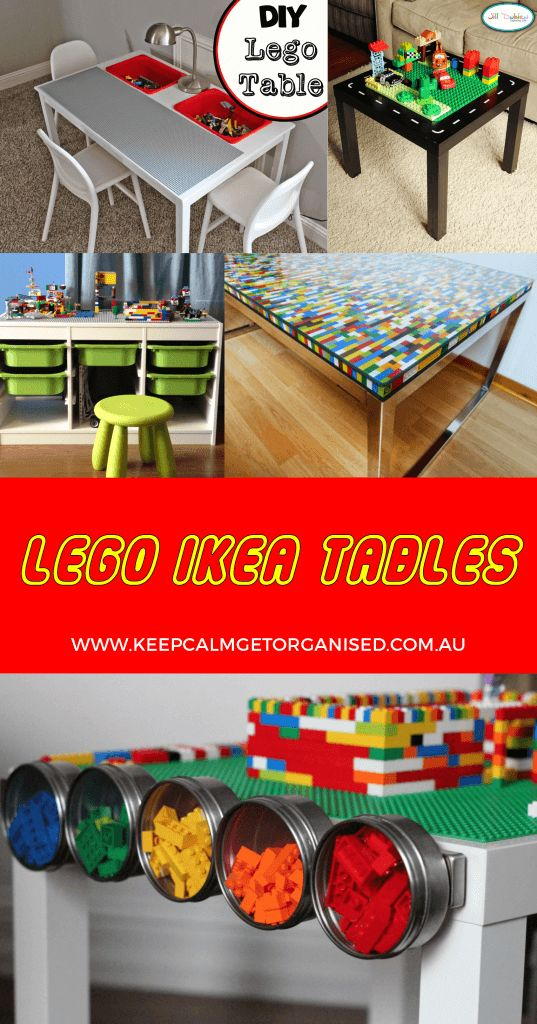 LEGO tables using IKEA hacks and storage ideas. So clever. See them all at http://keepcalmgetorganised.com.au/lego-tables-ikea-hacks-and-storage-ideas/