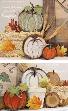 Wood rounds (tree slices) painted to look like pumpkins! Project by Kendra from Creative Ambitions @ http://creative-ambitions.blogspot.ca