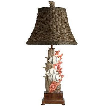 """This is the perfect <span style=""""font-weight: bold;"""">tropical lamp</span>. This coastal lamp features 3 fish swimming around coral and underwater plants.The fish based lamp seats on a wood platform .<br /> Stands 31 inches high with a woven shade. This handcrafted table lamp has a rotary 3 way switch that takes a 100 watt bulb. It is topped off with a..."""