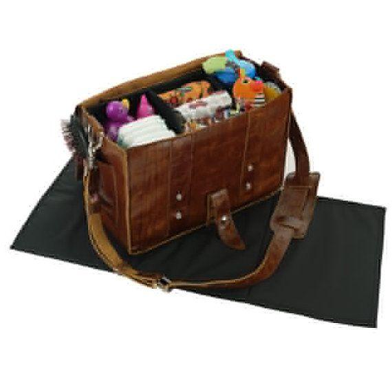 Tan leather diaper bag
