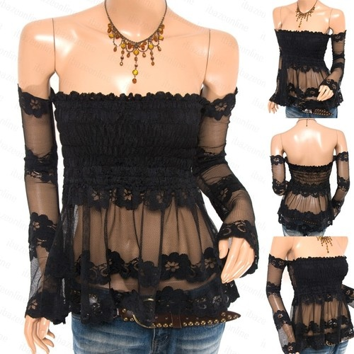 New Womens Funky Black Sheer Lace Smocked Off Shoulders Babydoll Top S