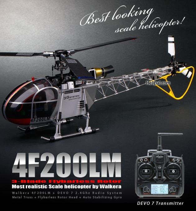 Walkera HM 4F200LM Helicopter (2.4Ghz Silver Value Edition) - Walkera-Heli-HM4F200LM-Silver-DEVO7