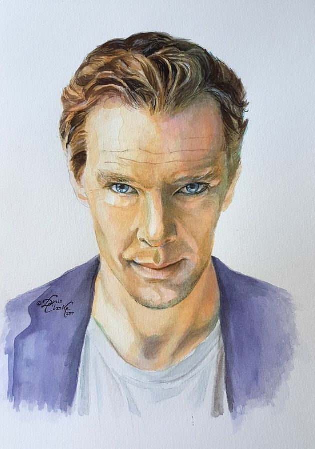 Benedict Cumberbatch - drawn by Doris Clarke. (c) Liquid watercolours on 300gsm medium tooth paper.