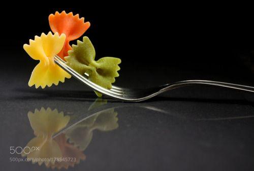 Pasta farfalle on a fork by jordachelr  IFTTT 500px
