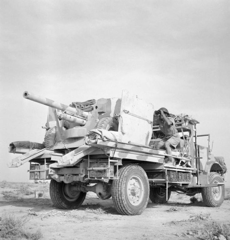 BRITISH ARMY NORTH AFRICA 1942 (E 12643)   A truck mounted 6-pdr anti-tank gun in the Western Desert, 31 May 1942.