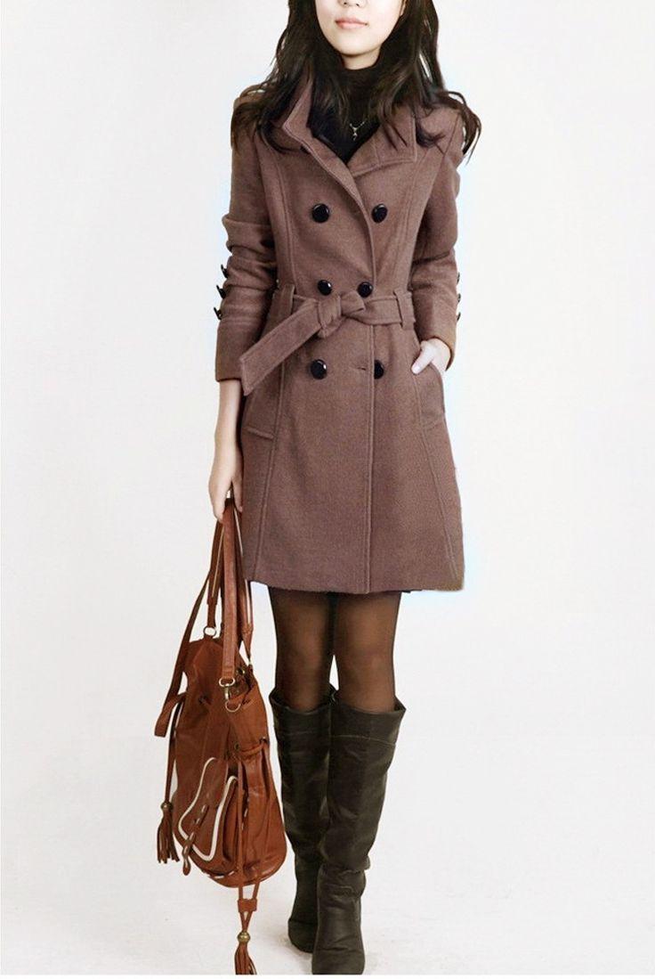 Женская Одежда шерсть пальто женский плюс размер длинные участки траншеи стиль Epaulet пояса шерстяные пальто S 3XL S682 купить на AliExpress