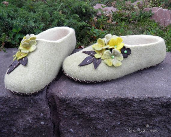 Felted Slippers Melon Dreams Women Slippers Wool Slippers With Leather Soles Warm
