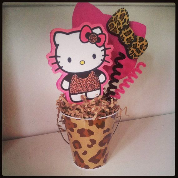 Hello kitty leopard centerpiece pinterest