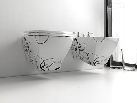 Jazz, design Meneghello Paolelli Associati. Sanitari sospesi / Wall hung sanitaries.   #bagno #bathroom #design #decor #white #black  #sanitaryware #Artceram