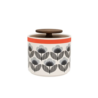 Orla Kiely: This ceramic storage jar with Poppy Meadow print will compliment any stylish kitchen, whether retro or contemporary. Lid is made of 'freijo' wood.        These ceramics are produced in Portugal and are handmade. Pieces may therefore display slightly varied characteristics.        PLEASE NOTE:    Ceramics are sold within the UK only.        Weight: 0.75kg    Volume: 1L