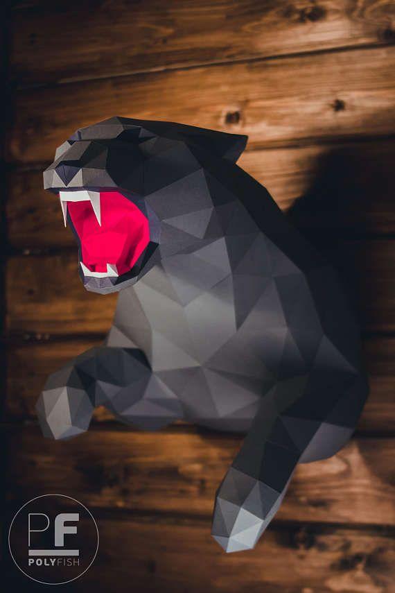 Panther papercraft Jaguar Leopard paper panther origami