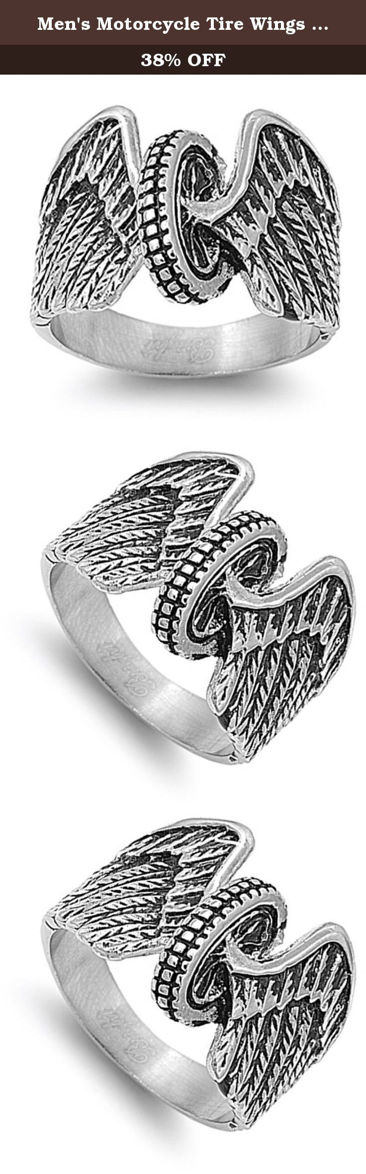 """Men's Motorcycle Tire Wings Biker Ring Stainless Steel Band New 17mm Size 15 (STL40276-15). All our stainless steel jewelry is crafted from the finest 316L grade stainless steel, referred to by the medical community as surgical steel, that provides a flawless finish guaranteed to stand the test of time. Our """"comfort fit"""" jewelry is designed using the latest laser technology to ensure precision cuts, smooth edges and quality finishes. We promise superior service which includes fast…"""