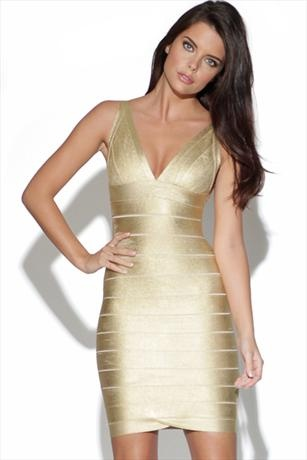 GOLD BANDAGE DRESS... Now all I need are the shoes