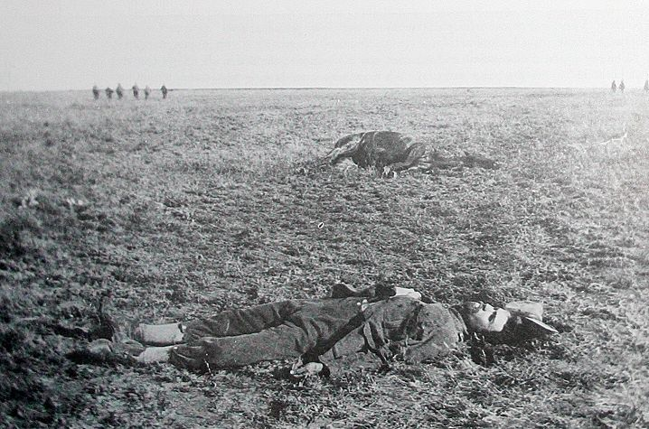 Valliant Death of a Commandant. Commandant Potgieter sprawled in the grass 27 metres from the British line, after the battle of Rooiwal on 11 April 1902.  He and 50 of his men died gallantly charging the British line on horseback.