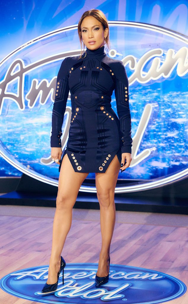 She's returned! Coming backAmerican Idol's final season, the judge sets her style bar high in this sculpted Mugler mini.