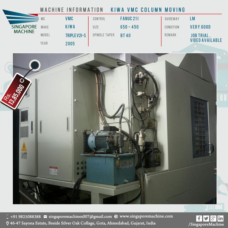 Used Kiwa VMC Column Moving Available In Ahmedabad Machine: Kiwa VMC Column  Moving MC: VMC Make: KIWA Model: Triple V21 S Year: 2005 Control: Fanuc 21I  ...