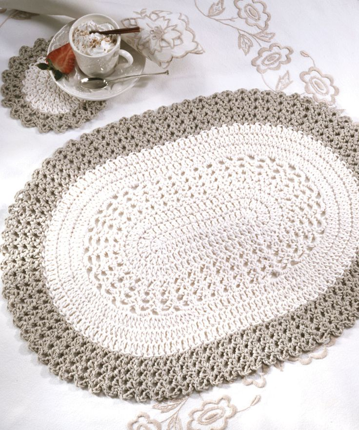 Oval Placemat & CoasterCoasters Crochet, Coasters Pattern, Crochet Placemats Free Pattern, Crochet Free Pattern, Red Heart, Rugs Pattern, Crochet Rug Pattern, Crochet Patterns, Oval Placemats