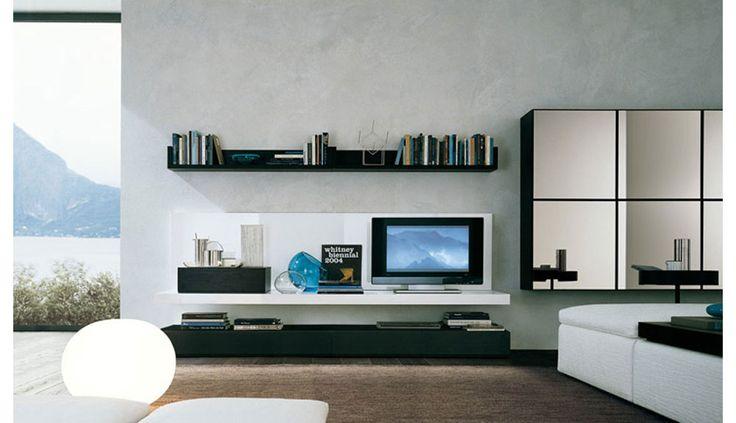 mobile soggiorno in ciliegio 601 con basi e pensili caratterizzati ... - Pensile Soggiorno Sospeso Ikea 2