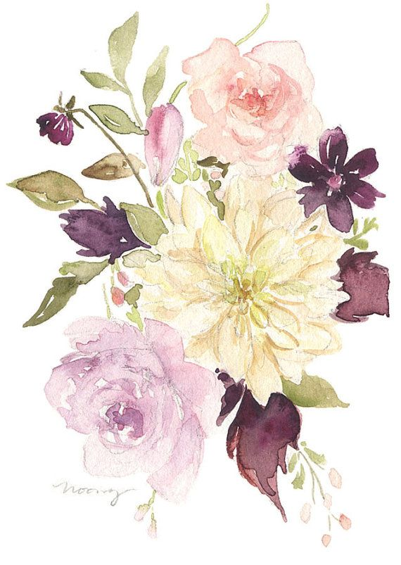 original watercolor painting dahlia bouquet by nooneyart on etsy tatueringar pinterest. Black Bedroom Furniture Sets. Home Design Ideas
