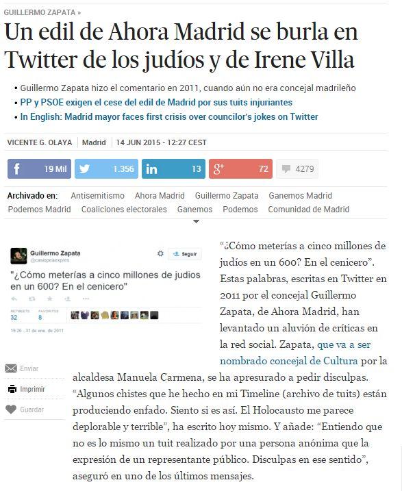 Un edil de Ahora Madrid se burla en Twitter de los judíos y de Irene Villa / @el_pais | #readyfordigitalprivacy #readyfordigitalcitizenship #gossiplibrarian15
