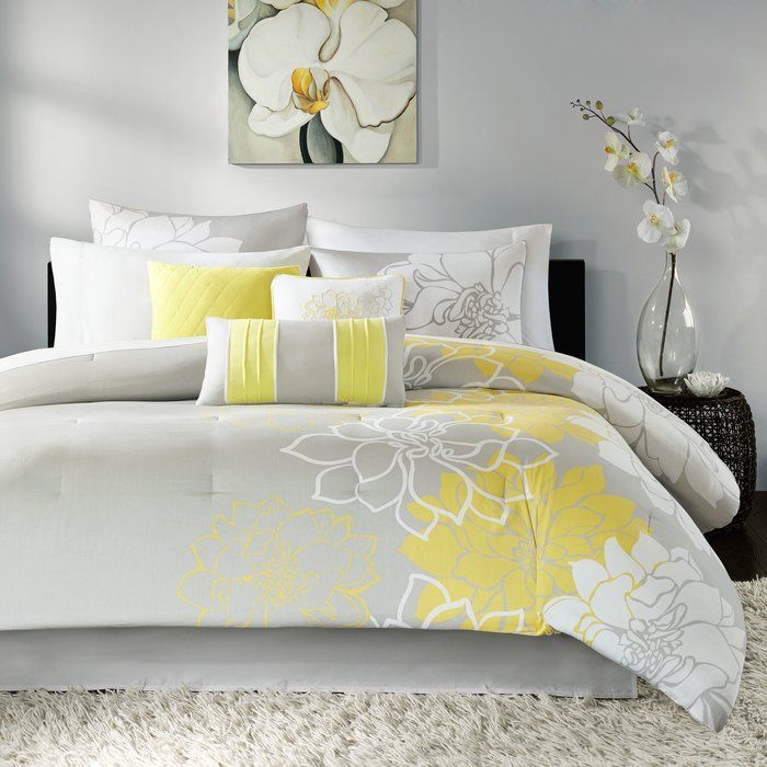 Red Barrel Studio Broadwell Reversible Comforter Set Reviews Wayfair Yellow Bedding Duvet Cover Sets Comforter Sets