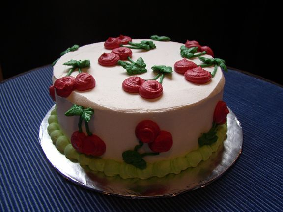 """Little Cherry Cake - 6"""", one layer, torted and filled with my favorite Vanilla Chocolate Cherry Buttercream. Just using up left-over cake and fillings for fun!"""