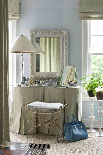 Custom dressing table with tailored skirt concealing a dresser for storage | Interior design by Shari Markbreiter #dressing_room #vanity