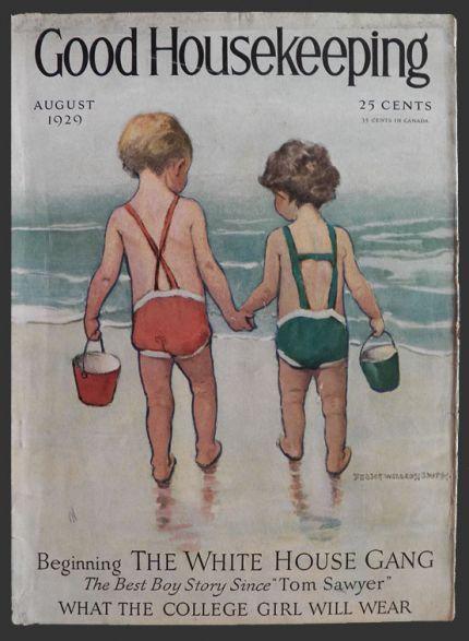 1929 Good Housekeeping Cover ~ Beach Kids ~ Jessie Willcox Smith, Vintage Magazine Covers
