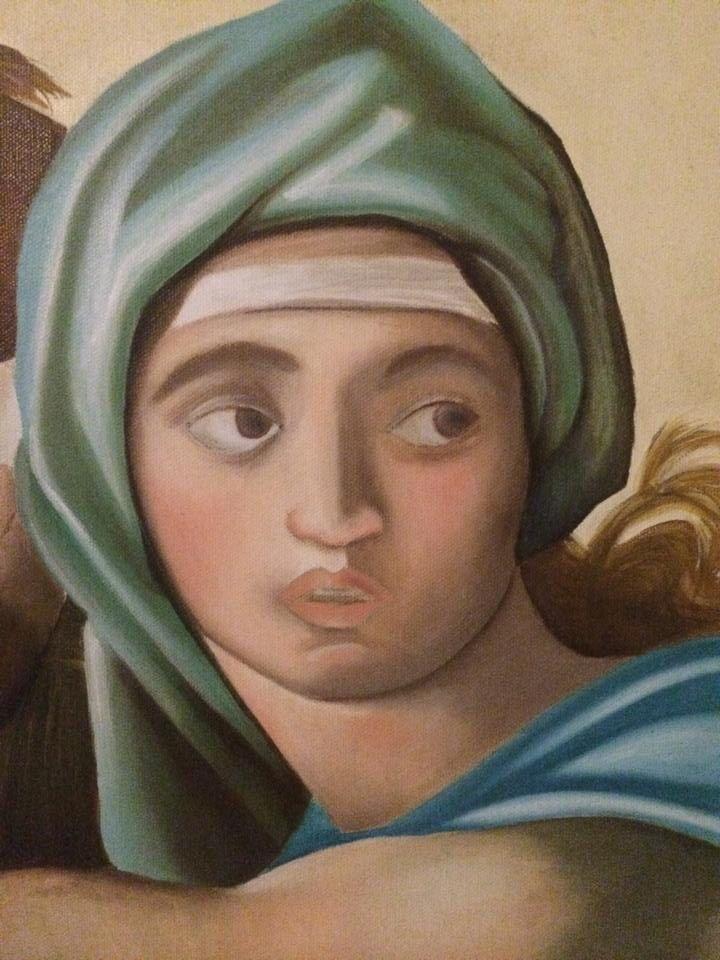 """Particolare della """"Sibilla Delfica"""" di Michelangelo."""