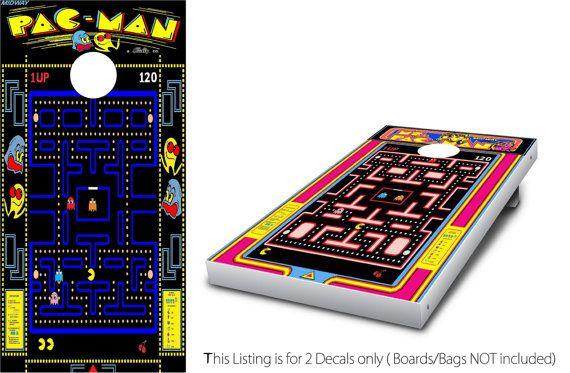 Pacman & Ms. Packman Cornhole Wrap set 2 by StickitGraphixllc