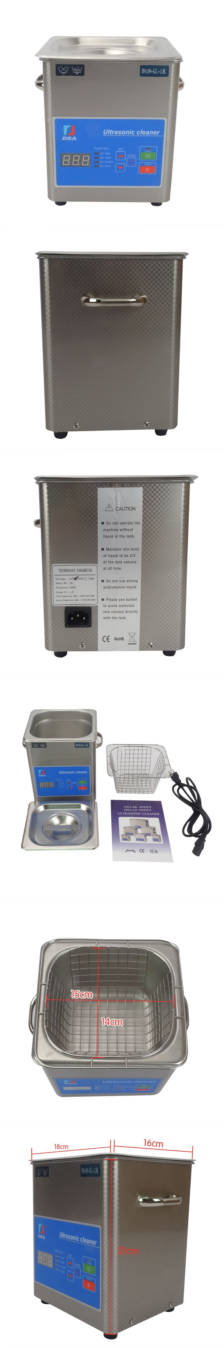 1PC Digital DSA50-GL1 110/220V Ultrasonic Cleaner Stainless Steel 1.8L Adjustable Free Basket