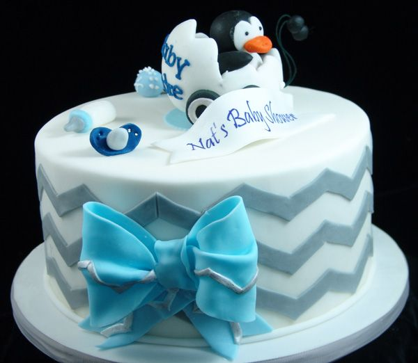 Baby Shower Cake with Penguin Theme #PenguinCake