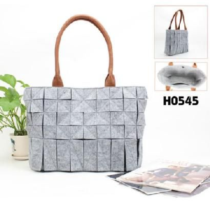 2087 designer woman's totes/ felt light grey hollow out totes