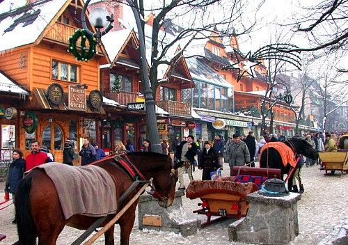 The village of Zakopane in the Tatry mountains.  This place is extremely beautiful and tranquil.  The sounds of Uralski chanting floods out onto Ulica Krupówki, and one is truly set in the full atmosphere of the traditional mountain people.