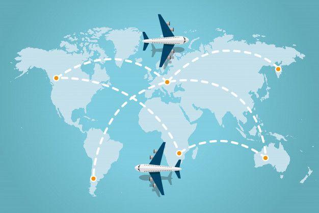 Mapa Del Mundo Con Líneas De Trazos Discontinuos Y Aviones Volando Concepto De Viaje Ilustración Vectorial Vect Mapa Del Mundo Aviones Volando Mapas Del Mundo