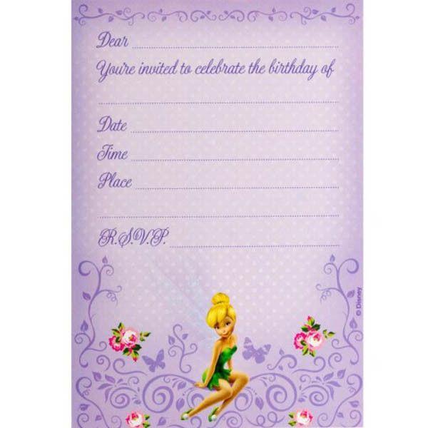 Download FREE Tinkerbell Birthday Invitations