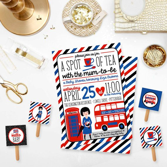 Spot of Tea with the Mum to Be - British London Inspired Baby Shower Invitation and 2 in. Party Circles Red Blue Black DIY Printable