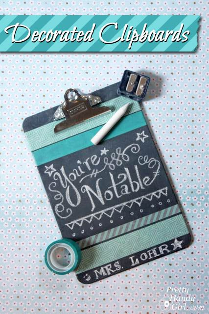 Decorated Chalkboard Clipboards using Washi Tape