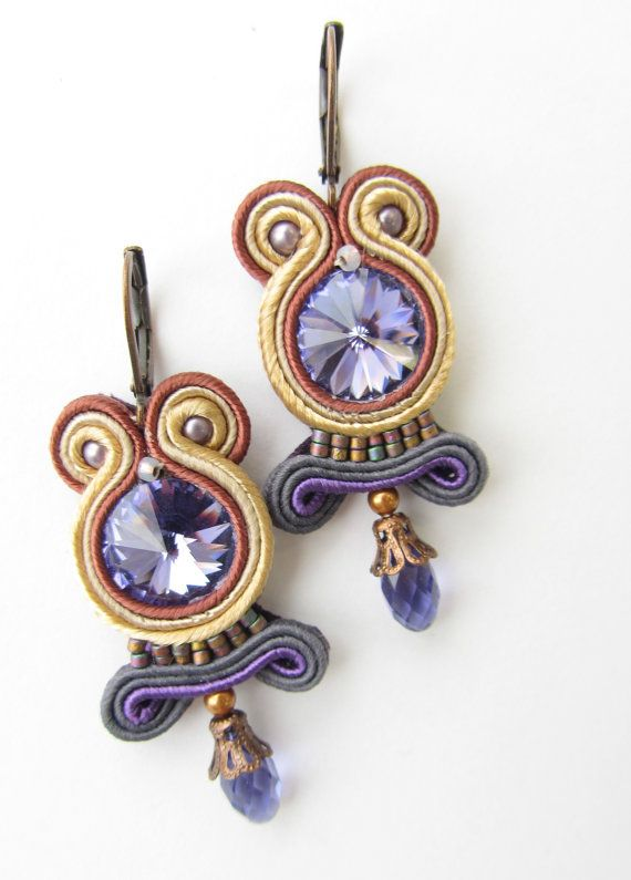 Soutache earrings by Violetbijoux on Etsy, $49.00
