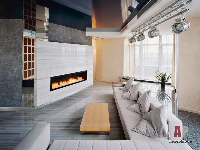 Interior design penthouse in high-tech style (12 photos) #interior #design #penthouse #interiordesign #homedesor | Дизайн интерьера пентхауса в стиле хай-тек (12 фото) | Фото интерьера каминной трехуровневого пентхауса в стиле хай-тек