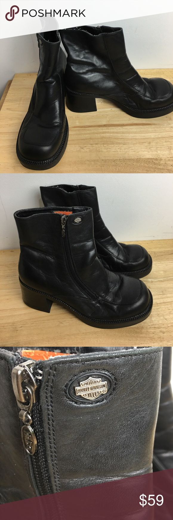 """Harley Davidson Women's Boots Good preowned Black leather 3"""" Heel  Mid Calf Motorcycle Harley-Davidson Shoes Heeled Boots"""