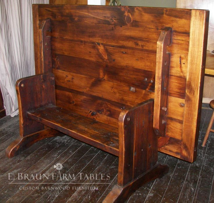 Our reclaimed barn wood flip top table converts to bench seating -We make  custom furniture