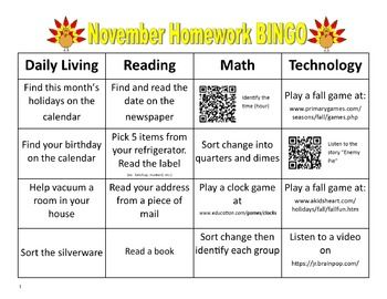 November Homework BINGO for Special Education:  I was looking for a way to change the way I did homework this year and had seen similar homework Bingo's on TPT but none that worked for my Special Education kids. So I decided to make my own! I wanted homework to be more functional for the students and flexible for the parents.
