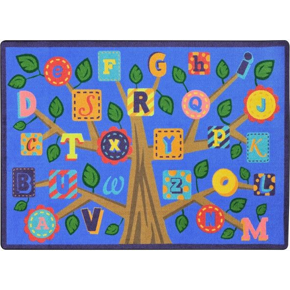 Alphabet Leaves Classroom Rug Soft 5'4 X 7'8