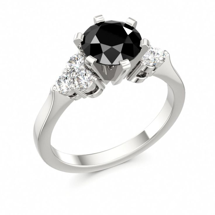 Engagement Ring with Side Stones DIVINE CRYSTALS with Black Diamond #diamond #engagement #ring